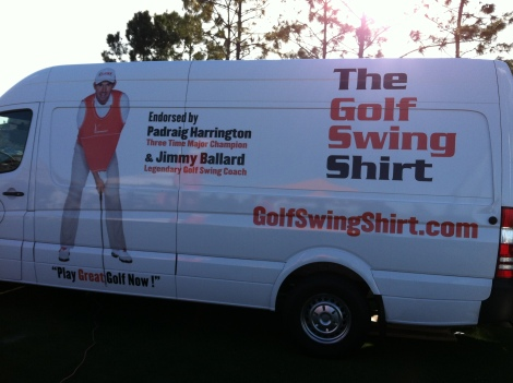 The Golf Swing Shirt helps players maintain the correct arm position while swinging the club. As you can see, it is endorsed by 3-time major champion Paraig Harrington.