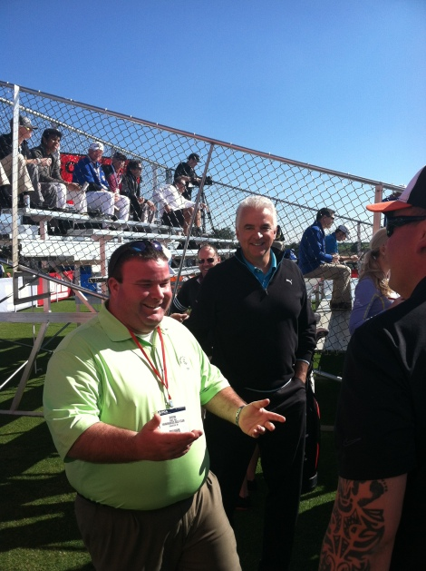 John O'Hurley (aka J. Peterman from Seinfeld) makes an appearance at the Cobra-Puma tent.