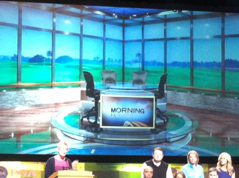 The main desk where the four hosts will sit to discuss the day's topics, not unlike the old format.
