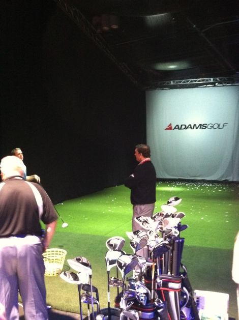 Adams had a hitting bay to test all of their new clubs.