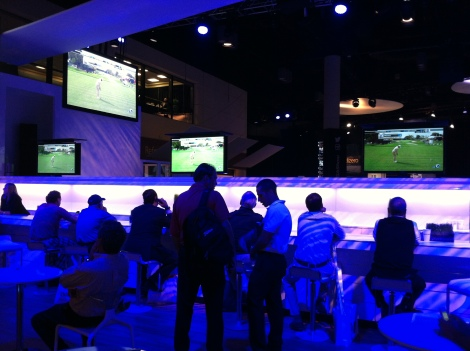 The Bar in the TaylorMade booth served drinks and showed live golf.