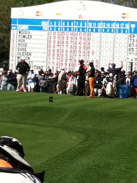 Tiger Woods and Rickie Fowler on the 11th tee at the Arnold Palmer Invitational.