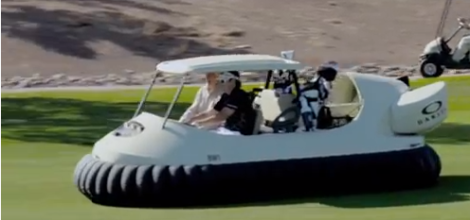 Yes, Bubba is driving a hovering golf cart.