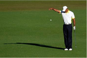 Tiger Woods was assessed a two-stroke penalty after this controversial drop on the 15th hole.