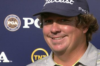 The most emotion you'll ever see from Jason Dufner after his record-tying 63 at the PGA.